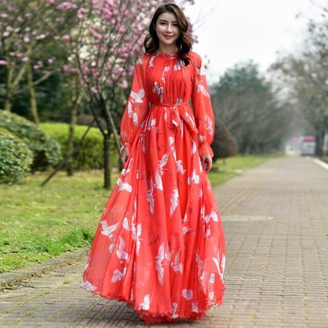 Long Sleeve Bohemian Chiffon Floral Long Plus Size Summer Wedding Guest Beach Holiday Floryday Maxi Dress Bridesmaid Sundress 2