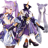 Genshin Impact Keqing Purple Game Suit Dress Lovely Uniform Anime Cosplay Costume Wigs Shoes Halloween Party Outfit For Women 1