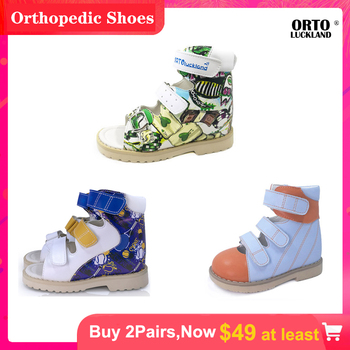 Ortoluckland children leather shoes boys orthotic sandals for girls kids colorful pattern graffiti summer shoes for baby toddler