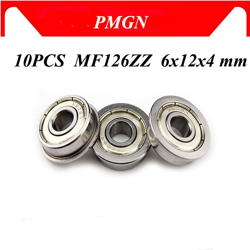 10pcs ABEC-5 MF126ZZ MF126Z MF126 ZZ LF-1260 High quality 6x12x4 mm Steel Shielded Flange Flanged Be