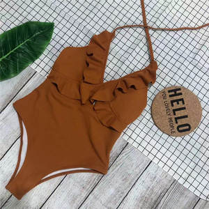 2020 Swimming Suit Sexy Pink Ruffles Skinny Bikini Beach Bathing Suit Women Swimwear