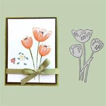 Corte de metal dados tulipa flores para scrapbooking artesanato artesanal fazer álbum de fotos cartão folha decorativa