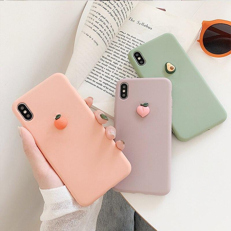 Cute 3D Fruit Peach Case For Motorola Moto G7 Power G6 Play G5S Plus G5 E5 Play E4 Plus Euro X4 Banana Soft TPU Cover