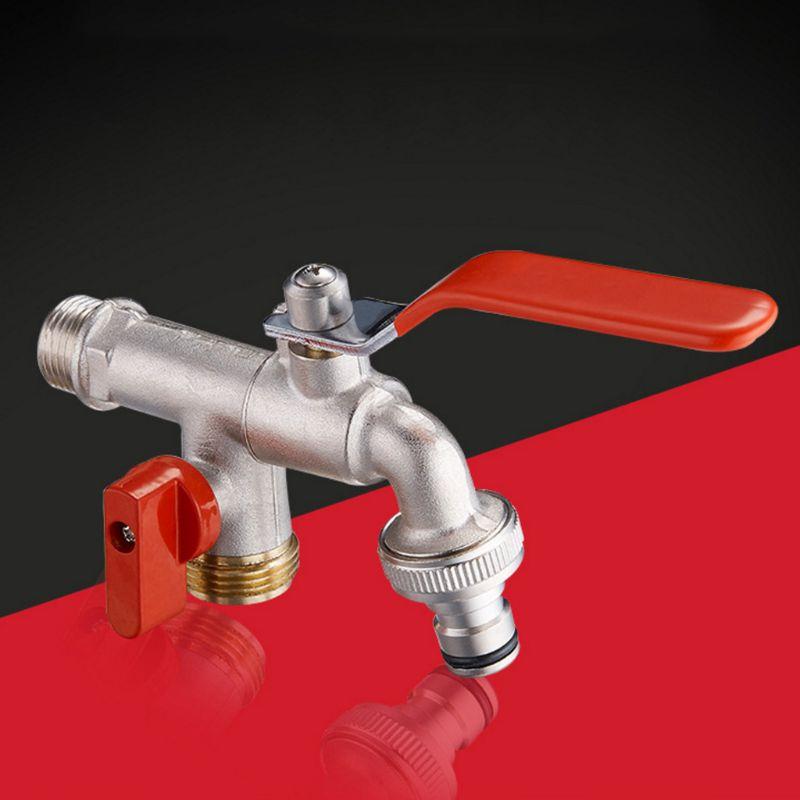90 градусов двойной клапан вода кран прочный латунь кран для дома на улице сад H7ED