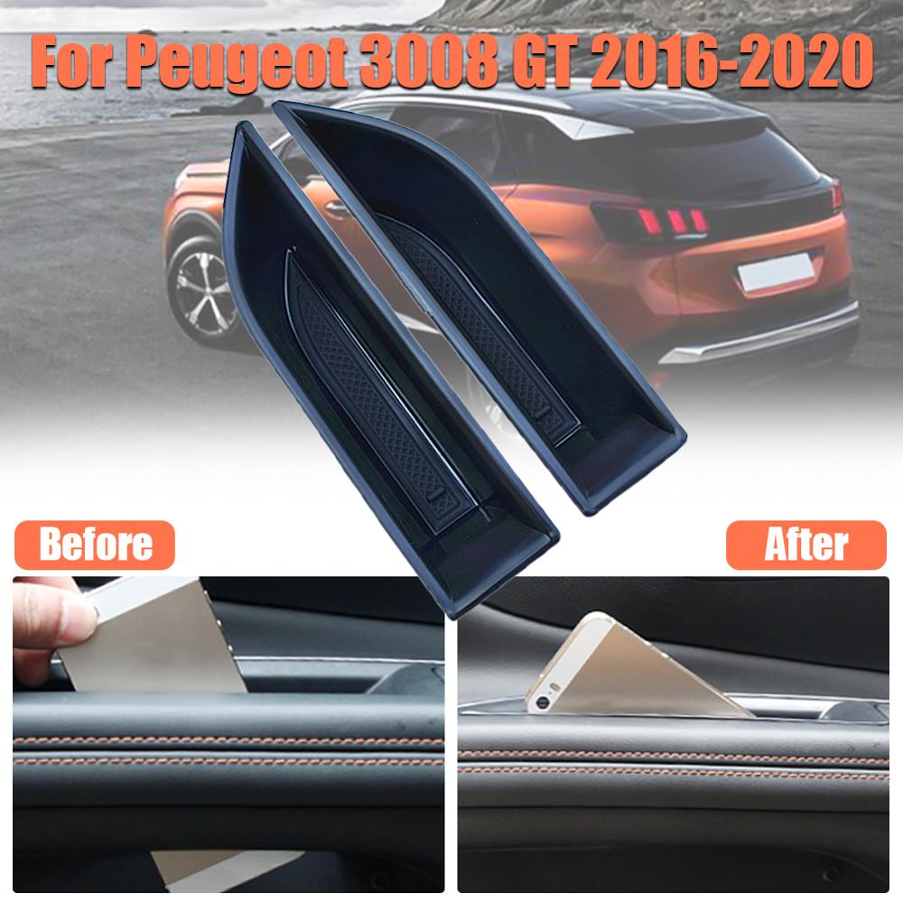 Black 2Pcs Storage Box Tray Case Fit for Jaguar XF 2008-2015 Secondary Door