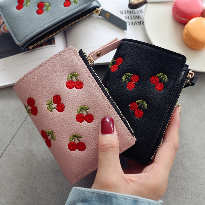 2020 New Embroidery Fruit Cherry Women Wallets And Purse Fashion Simple Students Wallet Small Leather Wallet Card Holder Bag