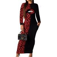 Elegant Autumn Party Festival Long Dress Lips Print Patchwork Leopard Long Sleeve Colorful Plus Size Women Club Bodycon Dresses