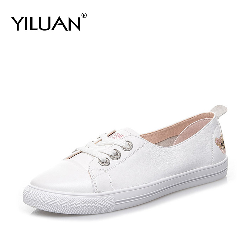 Little White Shoes Female 2020 Spring Autumn New Wild Leather Casual Student Shoes Flat Bottom Shoes Loafers Large Size 34-42