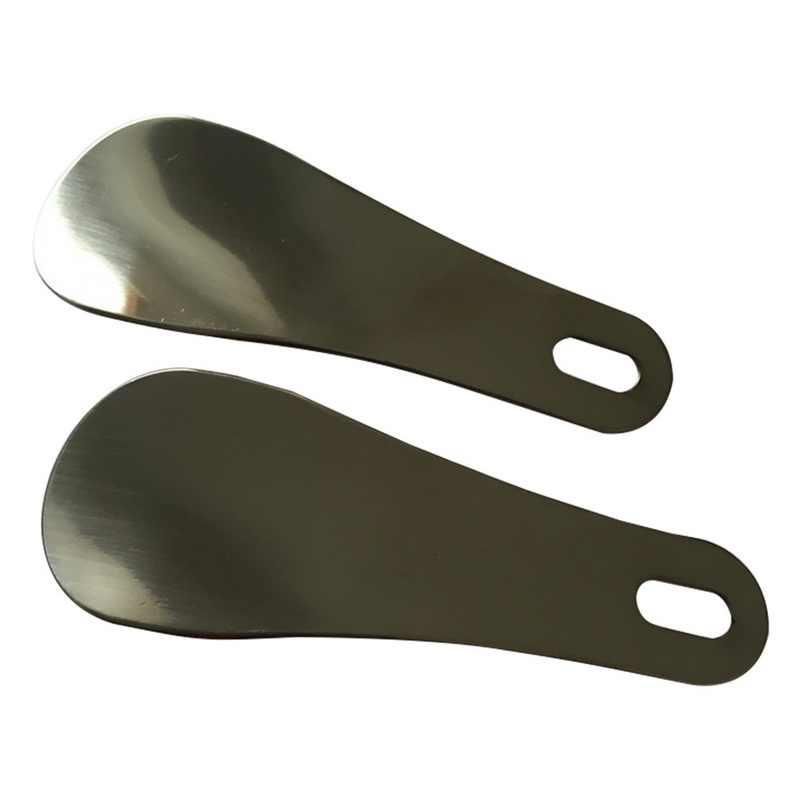靴べら 1 個ポータブル長さ 10 センチメートルシルバー Balck ステンレス鋼金属靴ホーンスプーン靴べらプロの家庭用ツール新