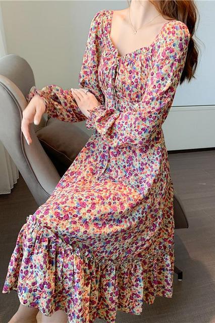 Women Chiffon Dress 2020 Spring Autumn New Long Sleeve Midi Long Dress Floral Print Long Pleated Dresses Fashion Autumn Dress