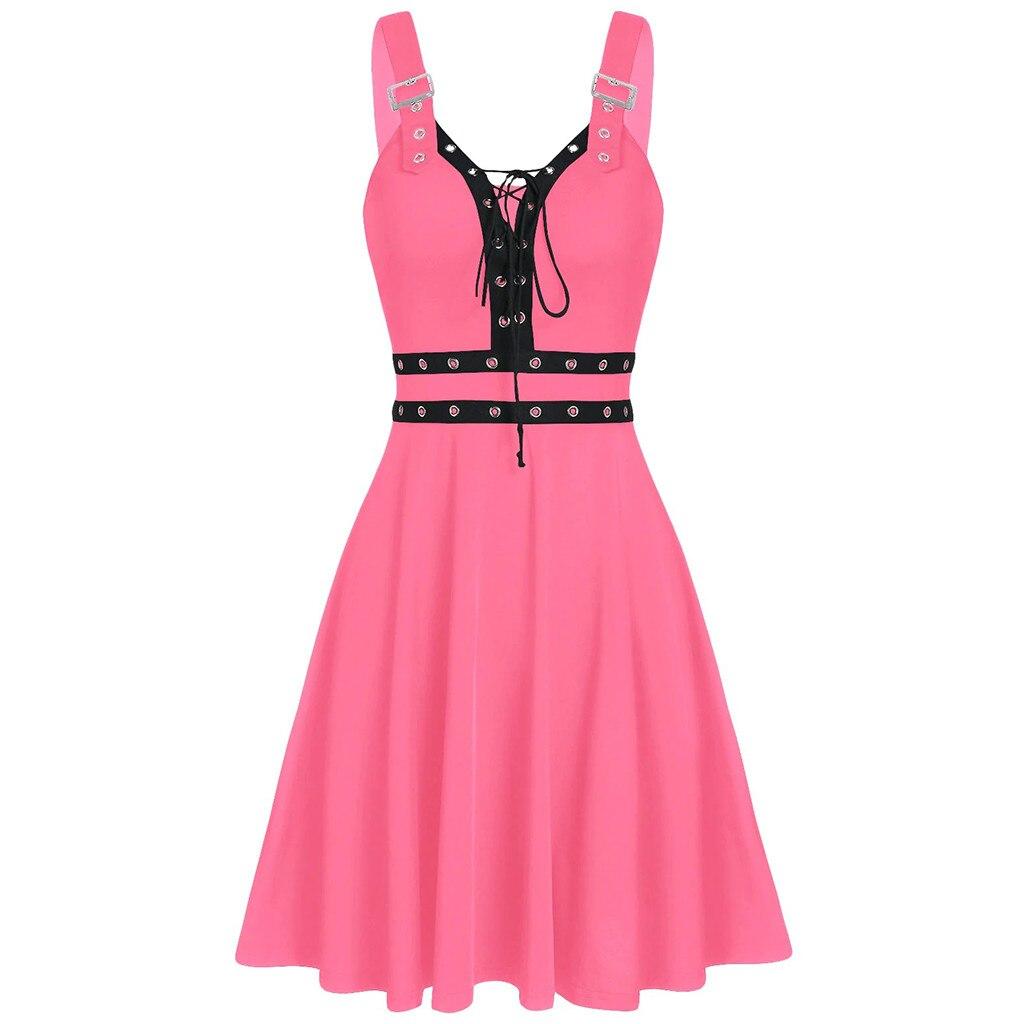 vestido de mujer Women Plus Size Cool Solid Bandage Irregular Hem Sleeveless Camisole Mini Dress femme