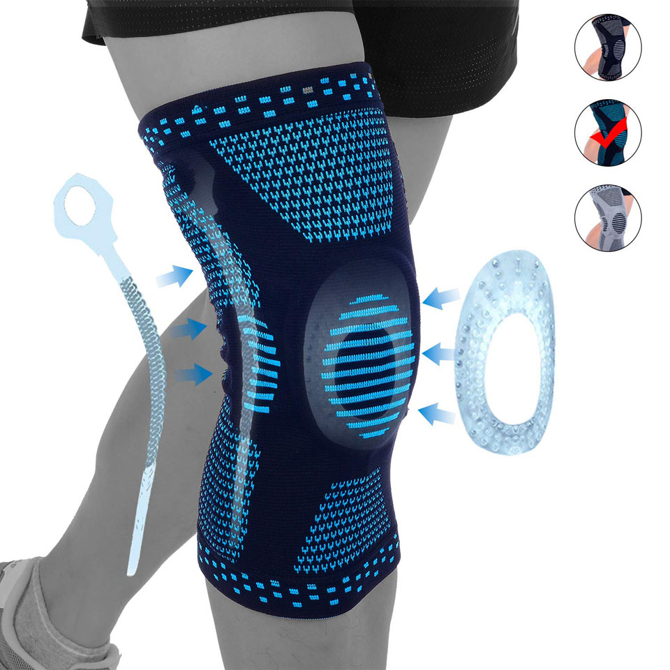 Knee Brace Compression Sleeve,Elastic Knee Wraps With Silicone Gel & Spring Support,Medical Grade Silicone Knee Protector For Me
