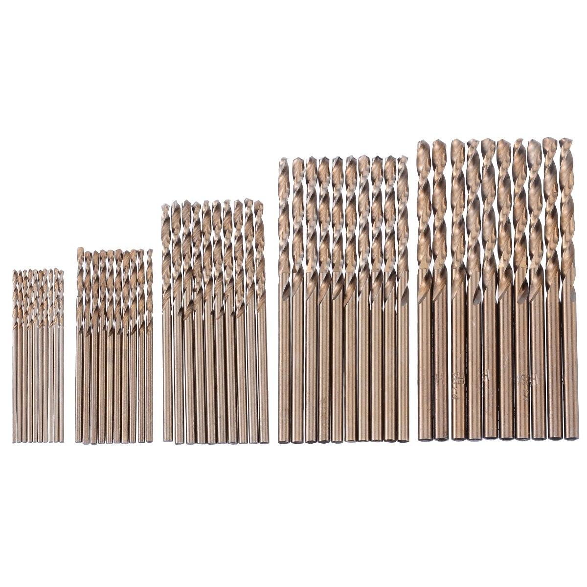Fixmee 50pc/lot  1mm/1.5mm/2mm/2.5mm/3mm  High Speed Steel HSS-Co 5% M35 Cobalt Drill Bit Tool Set