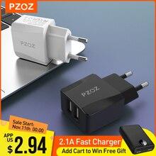 PZOZ cargador Usb de viaje con enchufe europeo 2a, adaptador de carga rápida, cargador de pared Dual portátil, cable de teléfono móvil para iphone, Samsung y xiaomi