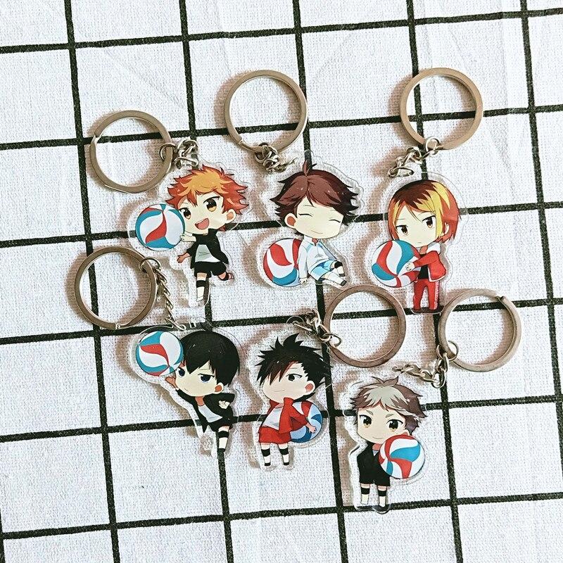 Anime Keychain Haikyuu Shouyou Hinata Double Sided Key Ring Acrylic Pendant Cartoon Accessories Kids Key Holder Gift Porte Clef(China)