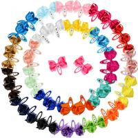50 pcs Snap Hair Clips with Bows Boutique Grosgrain Ribbon 3 Inch Hair Bows No Slip Hair Barrettes for Infant Toddlers Baby Girl