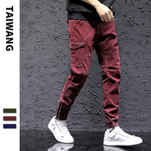 #2228 Red Black Green Skinny Cargo Pants Men Fashion Streetwear Pants Zipper Men Joggers Slim Hip Hop Trousers For Men Cotton