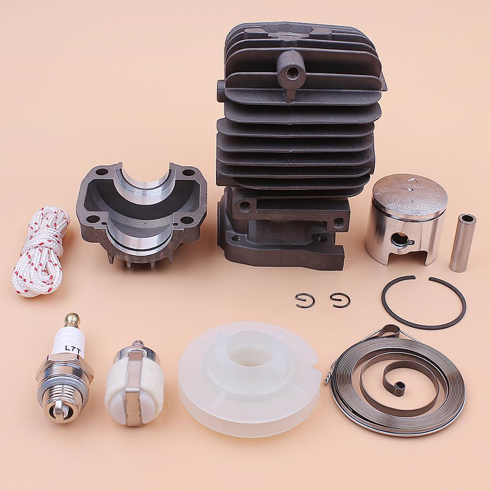 For Piston Spring Rope Base Starter Plug Part Pan Pulley 25cc Kit Recoil Engine Chainsaw Chinese 34mm Spark Cylinder 2500