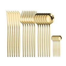 Spklifey ouro talheres 24 pçs conjunto de talheres de aço inoxidável conjunto de talheres colher conjunto talheres garfos facas colheres novo