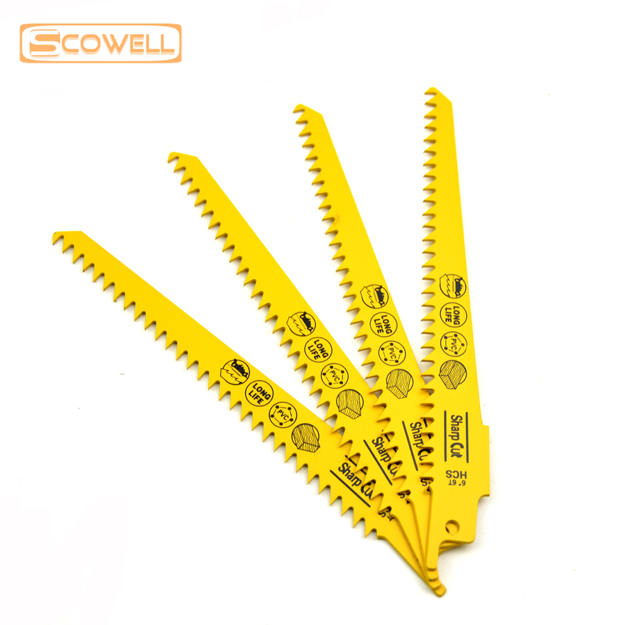 6 inch Universal Shank HCS Reciprocating Saw Blades 6TPI Fit For Cutting Wood and Plastic sabre saw blades in Saw Blades from Tools