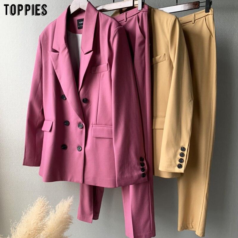 Toppies 2020 осенний блейзер + брюки комплект из двух предметов женский двубортный костюм куртка брюки с высокой талией|Брючные костюмы|   | АлиЭкспресс