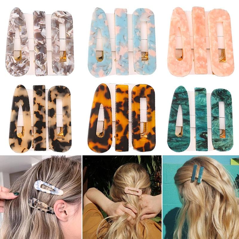 Novo 3 pçs/set moda leopardo acetato geométrico grampos de cabelo para mulheres meninas bandana doce hairpins barrettes acessórios para o cabelo conjunto