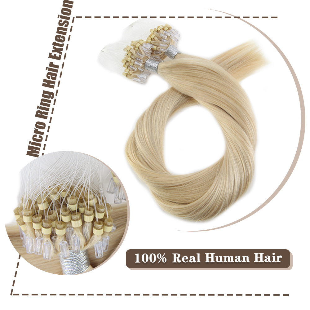Moresoo Micro Loop Hair Extensions Micro Bead Human Hair Machine Remy Brazilian Beads Extensions 1G/1S 50G 50S Pure Color