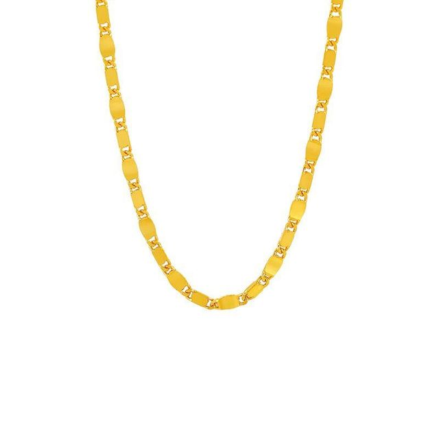 XP Jewelry -- ( 50 cm x 3 mm )  24 k Pure Gold Color Square chain Necklaces For Men Women Fashion Jewelry Good Quality