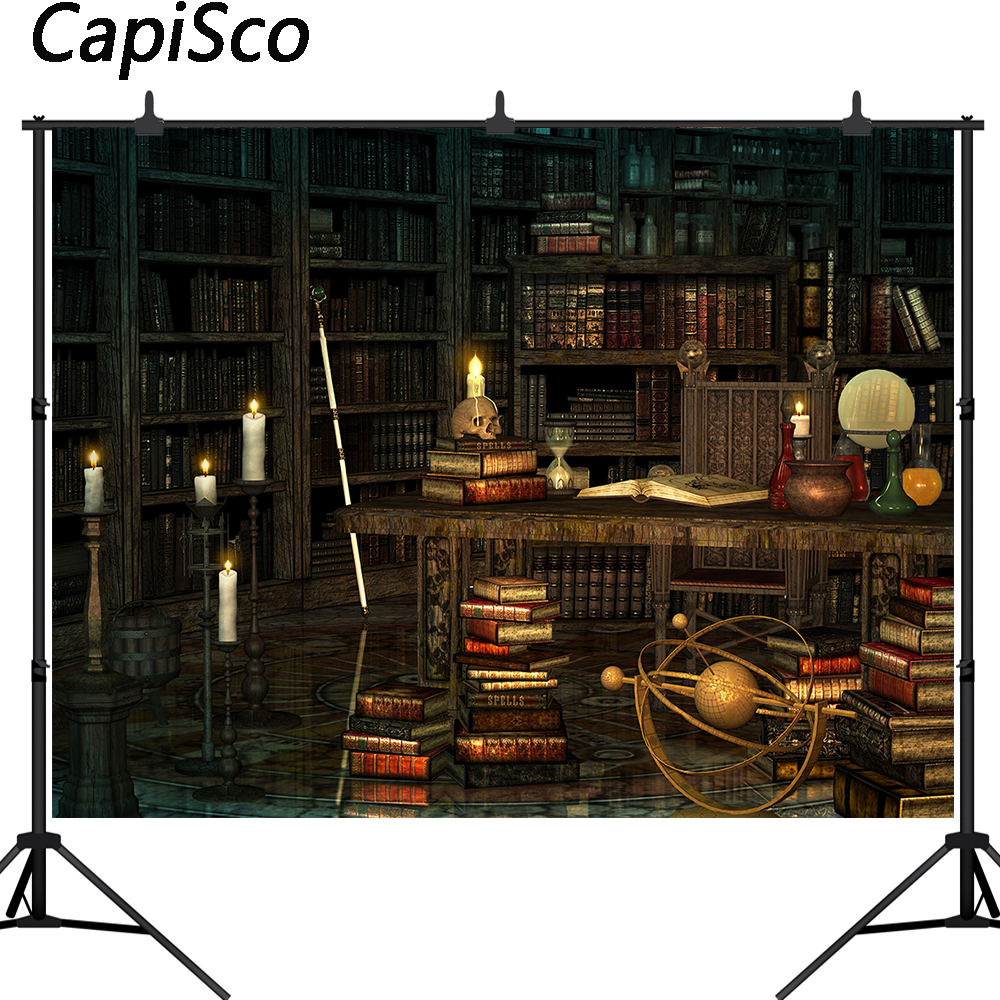 Capisco Wizard Magic Bookshelf Photography Backdrop Halloween Dress Up Party Decor Ancient Library Background Photo Booth prop