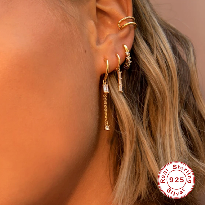 ROXI Elegant Semicircle Shape Square Crystals Stud Earrings for Women Wedding Earrings Piercing 925 Sterling Silver Pendientes