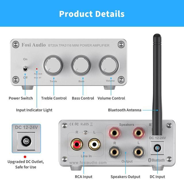 Усилитель мощности Fosi Audio BT20A, Bluetooth, 2*100 Вт