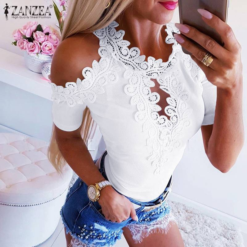 Women Lace Patchwork Blouse Bohemian Solid Tops Sexy Off Shoulder Blusas Short Sleeve Hollow Tee Shirts Plus Size Tunic 7