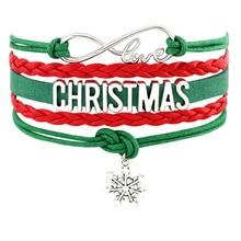 Merry Christmas Gift Sock Santa Claus Snowman Snowflake Tree Deer Reindeer Heart Charm Handmade Bracelets