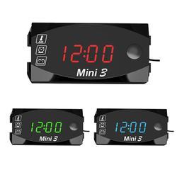 Uniwersalny motocykl zegar elektroniczny termometr woltomierz trzy-w-jednym IP67 wodoodporny pyłoszczelny zegarek LED cyfrowy wyświetlacz