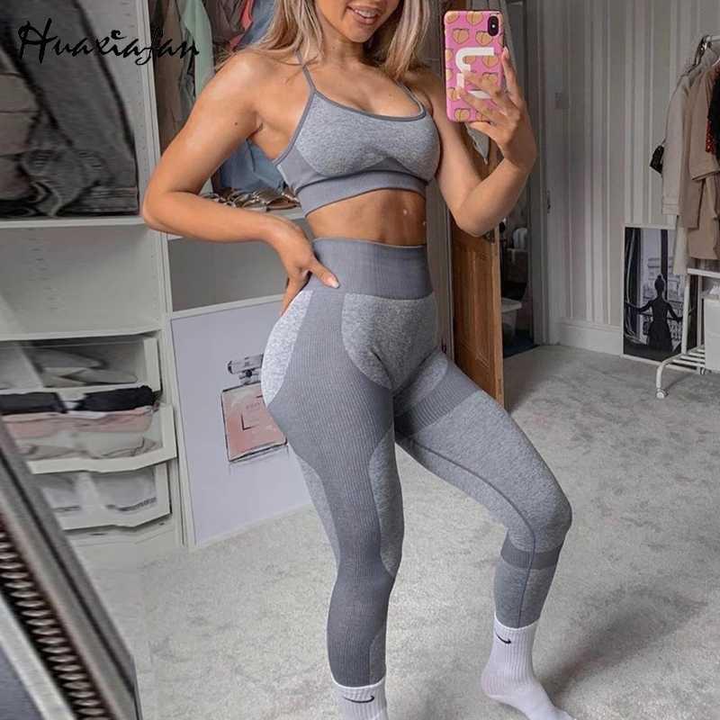 2 stück Sets Anzüge für Frauen Training Legging Nahtlose Kleidung Sportswear Fitness Sport Anzüge Gym 2020 Sommer Neue Mode