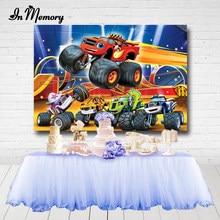 Inmemory blaze monstros máquina meninos festa de aniversário fotografia pano de fundo caminhão carros festa fundos photocall personalizado 7x5ft