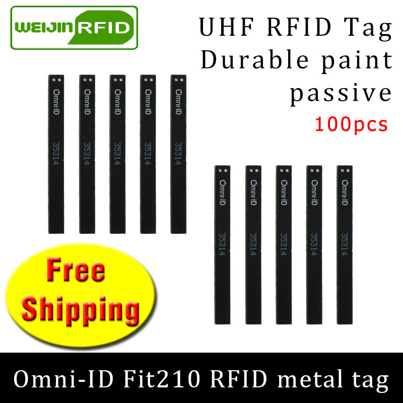 UHF RFID Metal Tag Omni-ID Fit210 915m 868mhz Alien H3 EPC 100pcs Free Shipping Durable Paint Long And Thin Passive RFID Tags