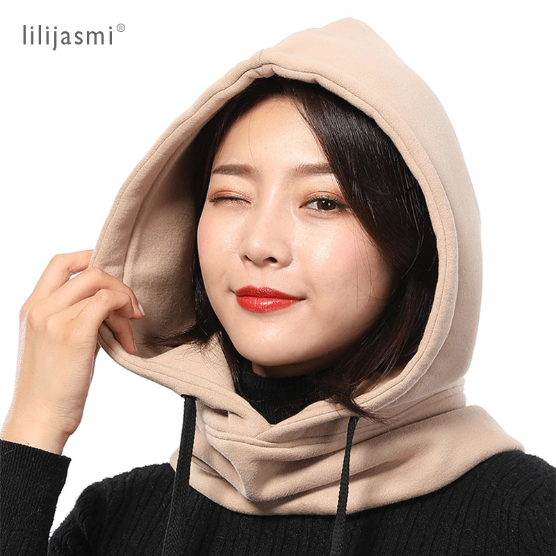 Unisex 2-Layer Thick 100 Cotton Warm Fashion Hood Hat Scarf Elegant Hooded Hats Beanies Winter Neck Warm Balaclava Headgear Caps