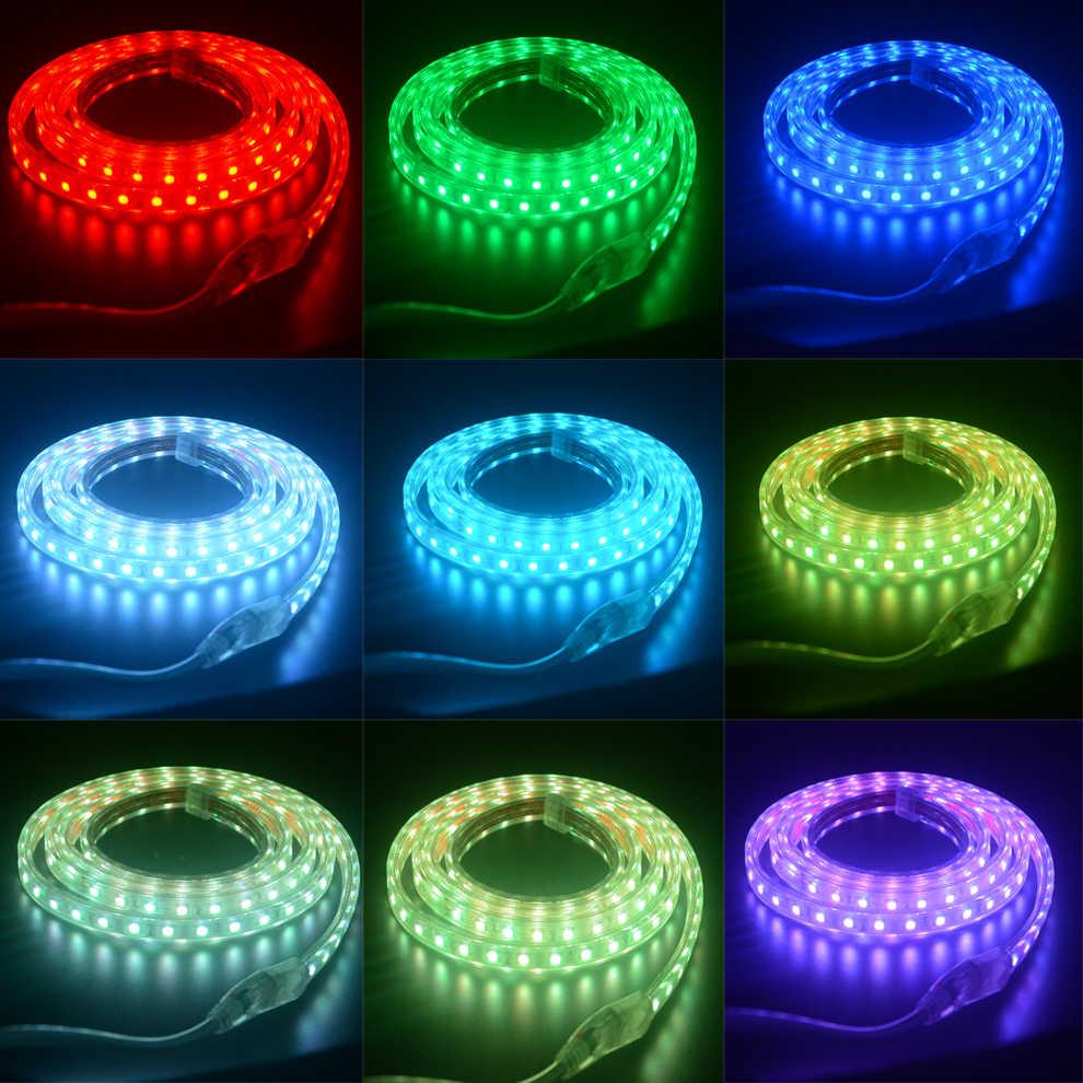 RGB светодиодный светильник 220 в 240 В IP67 Водонепроницаемый 60 светодиодный/м SMD 5050 ленточный светодиодный светильник e с контроллером
