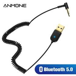 ANMONE-Adaptador de Cable Usb para coche, 3,5mm, Aux, Bluetooth 5,0, Conector de Audio para altavoz y auriculares