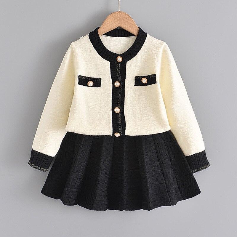 Abiti invernali per ragazze nuovo abito per bambini cappotto in maglione lavorato a maglia gonna corta a pieghe set abito invernale da principessa per abbigliamento per bambini
