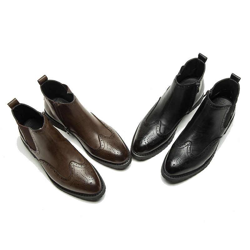 Sonbahar Kış Hakiki Deri Ayak Bileği Chelsea Çizmeler erkek ayakkabısı Vintage Klasik Erkek Rahat Motosiklet Çizme erkek botları
