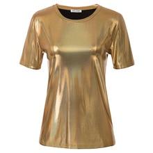 Golden Women Tee Shirt Casual Fashion Shiny Metallic-Like T-Shirt Tops Short Sleeve Crew Neck Loose Fit Lady Clothing Summer New