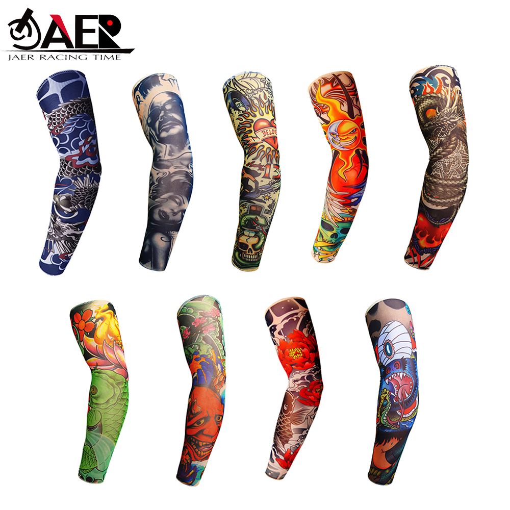 JAER Outdoor Motorcycle 3D Tattoo Printed Arm Sleeves Sun Protection Bike Basketball Compression Arm Warmers Ridding Cuff Sleeve