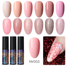 Kuku Vision 5 Ml Uv Gel Nail Polish Rose Emas Glitter Payet Rendam Off Uv Gel Varnish Warna Kuku Gel bahasa Polandia DIY Nail Art Lacquer(China)