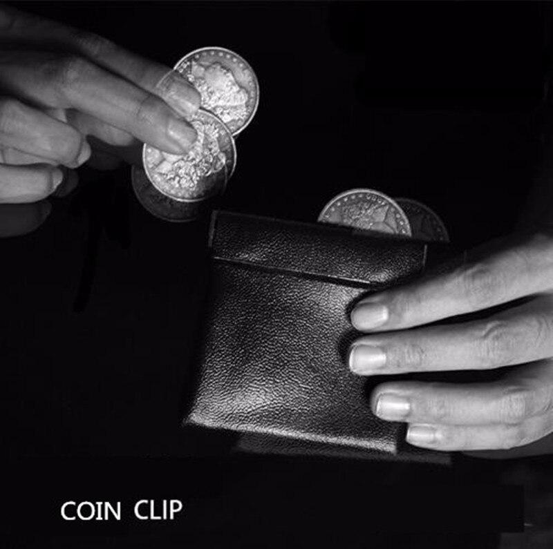 Coin Clip/Coin Wallet Leather Black (9cm*8.5cm) Coin Bag,Magician Accessories Morgan Dollar Protection Master Magic Props