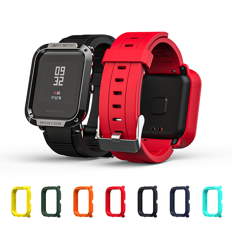 SIKAI Tough Armor Case Cover Strap For Amazfit Bip Watch Protector For Xiaomi Amazfit Bip Lite Smart Accessories Band Bracelet