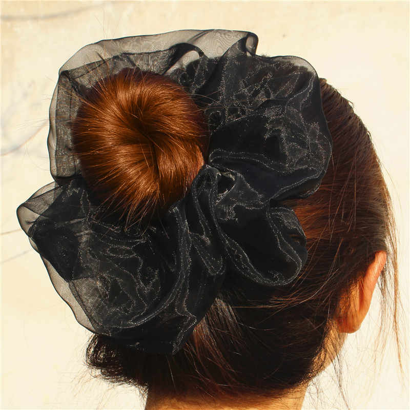 2 taille dames Super coloré doux gaze cheveux Scrunchy surdimensionné corde bande diaphane solide queue de cheval Vintage large cheveux gencives