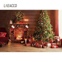Christmas Backdrops For Photography Old Brick Fireplace Candle Gift Party Wood Floor Child Interior Photo Background Photostudio