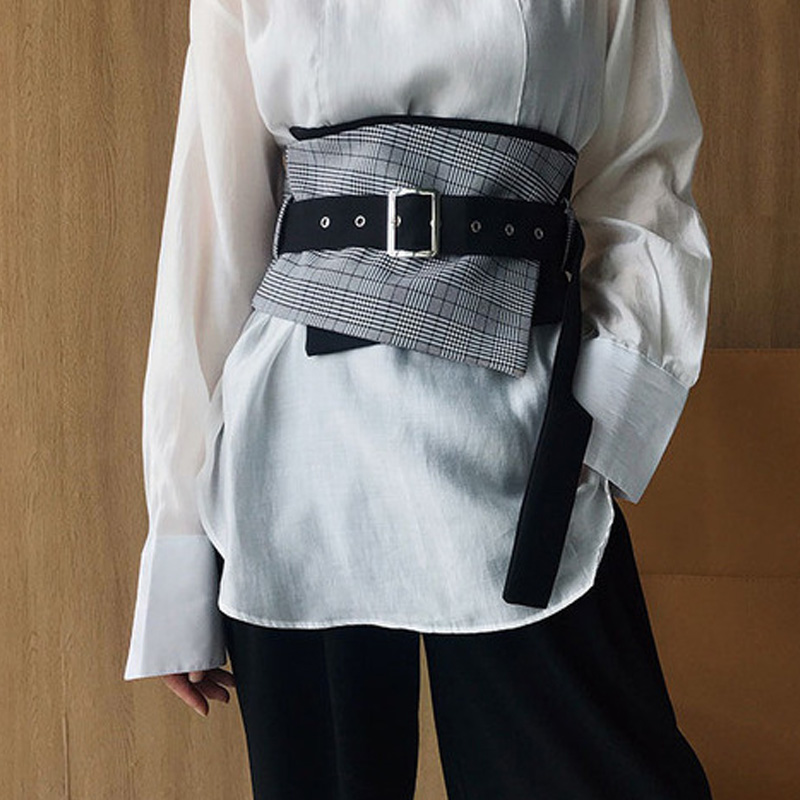 Fashion Vintage Plaid Black Wide Waist Belt Women's Casual Streetwear Clothing Tools Luxury Punk Style Waist Belts Female